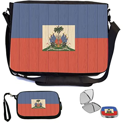 Rikki Knight Haiti Flag on Distressed Wood Design COMBO Multifunction Messenger Laptop Bag - with padded insert for School or Work - includes Wristlet & Mirror