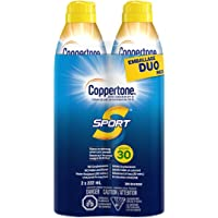 Coppertone Sport Sunscreen Spray SPF 30 Duo Pack (2x222 mL), Lightweight and Water-Resistant Sun Protection, Stays On…