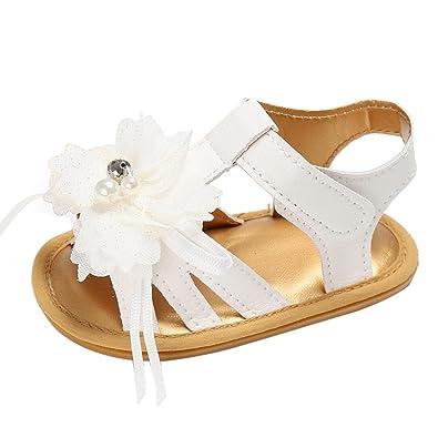 d4137a20589cd Manadlian Chaussures Bébé Fille Sandales Chaussures Fleur Anti-Dérapant  Bébé Sneakers Été (0~
