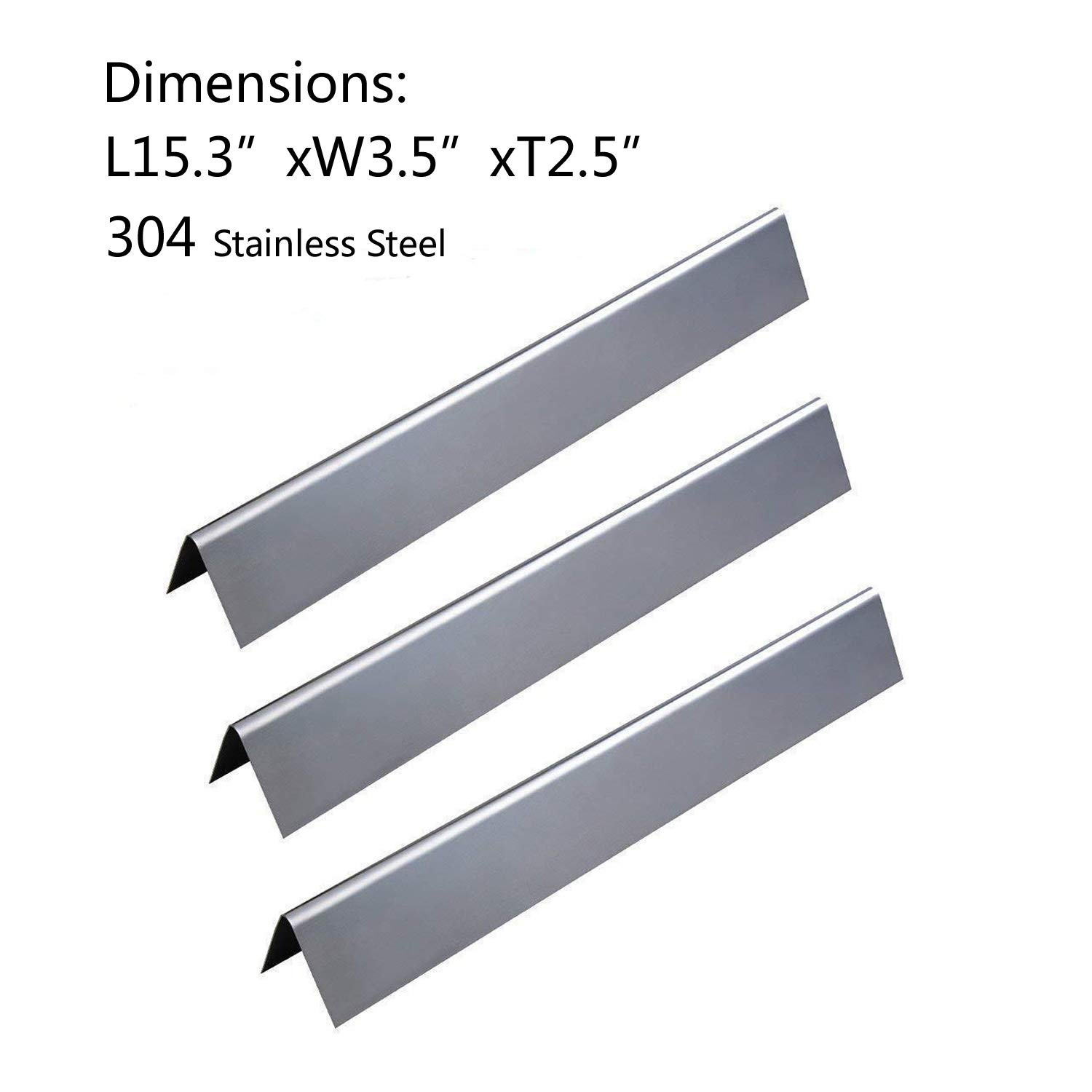 Stainless Steel Grill Heat Plate Shield Tent BBQ Burner Cover Flame Tamer Deflector Diffuser GASPRO SGP081 Gas Grill Replacement Parts for Jenn-Air and Vermont Castings 3-Pack, 14 1//2 x 7 1//4 inch