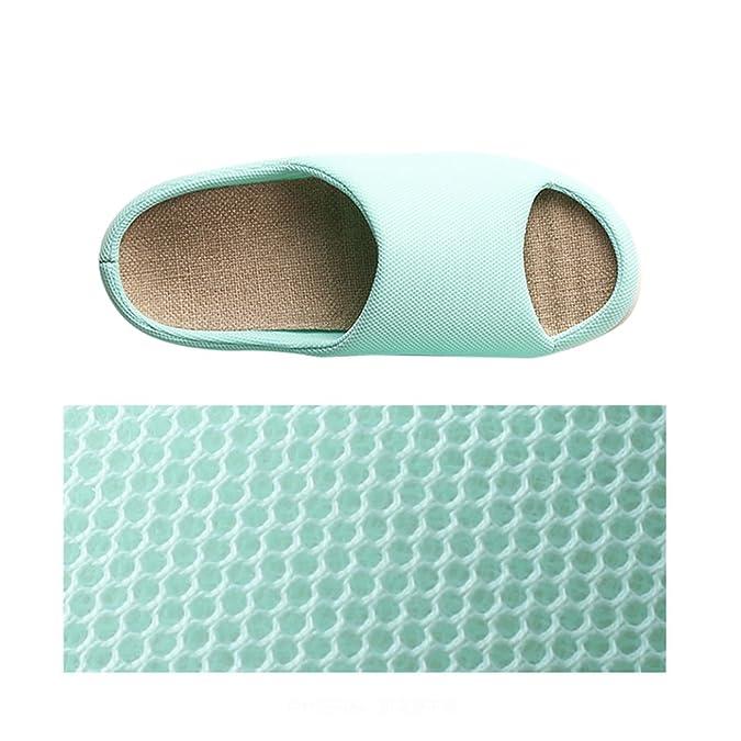 Chaussons DWW Pantoufles de Lin Femme Été Intérieur Printemps et Automne Anti-Dérapant Ouvert Chaussures de Couleur Unie (Couleur : Gris, Taille : EUR:41-42)