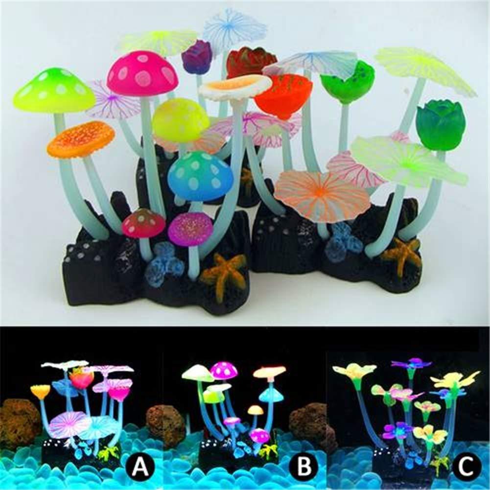 3piecesets Glow in The Dark Luminous Aquarium Decor Ornament Silicone Plant Fish Tank Decor,3piecesets