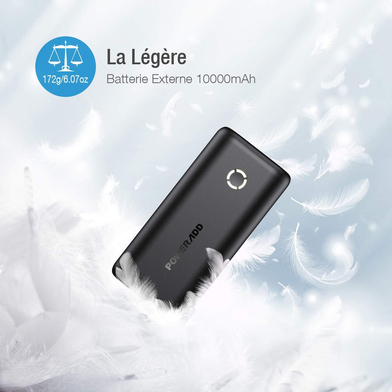 POWERADD Energycell 10000 Batterie Externe 10000mAh Ultra Petite avec 2.4A USB Sortie Chargeur Portable Le Plus Léger Poids- Noir