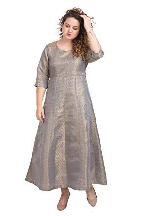 6e788af44df Lastinch Women's Grey Brocade Anarkali for All Plus Size and Small Size  (Size: XXS -8XL)