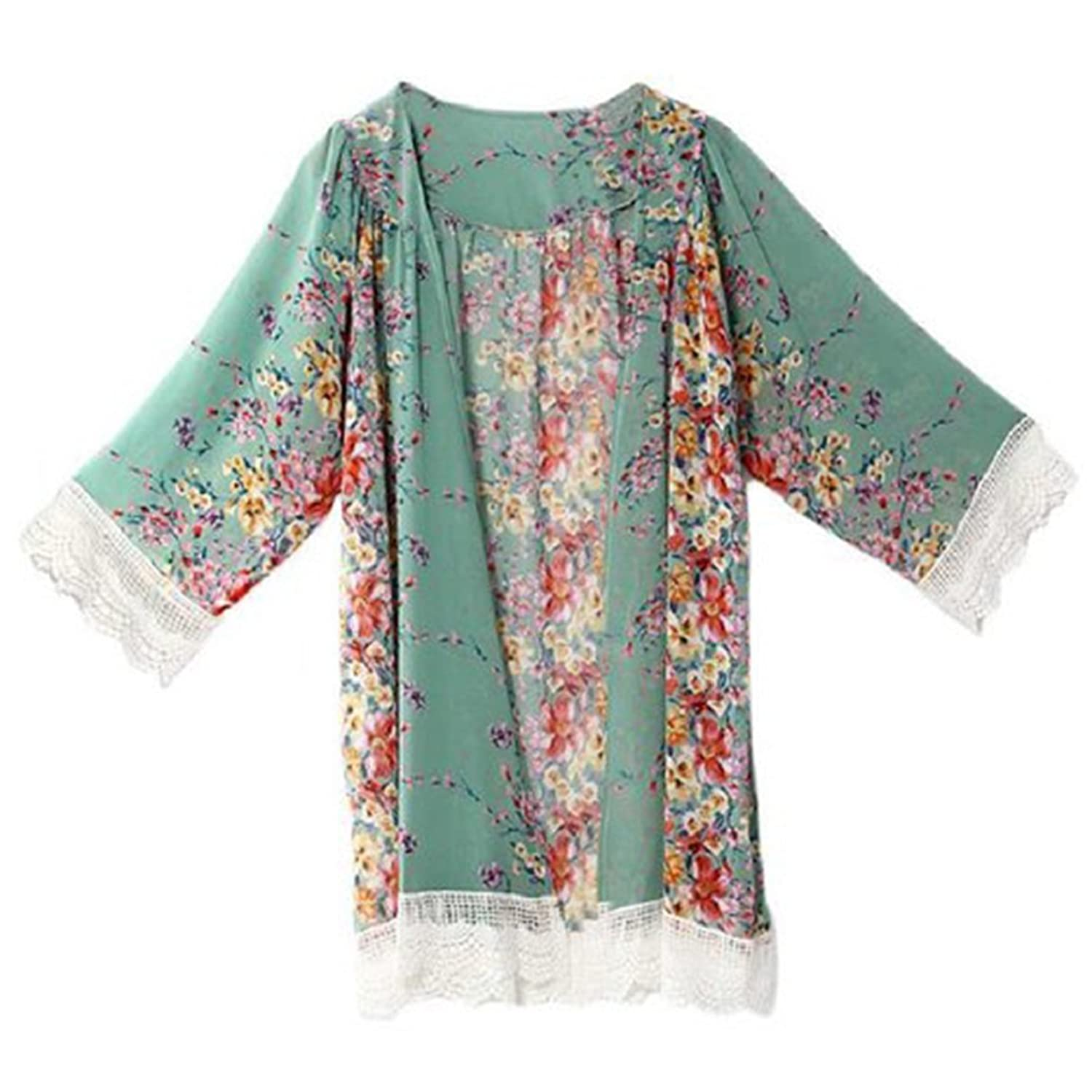 Polytree Women Chiffon Floral Cardigan Midi Sleeve Tops Cover Up Blouse