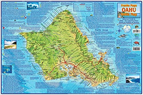 Oahu Hawaii Adventure Map Franko Maps Laminated Poster Franko Maps