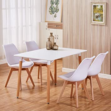 Wondrous Goldfan Dining Table And Chairs Set 4 Modern Rectangle Kitchen Table And Tulip Chairs Lounge Eiffel Wood Style White Inzonedesignstudio Interior Chair Design Inzonedesignstudiocom