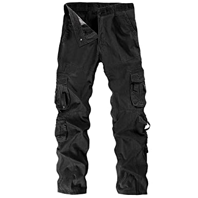 d15cc776 Alangbudu Men's Relaxed Fit Cotton Casual Cargo Pant Combat Hiking Trousers  Work Loose Fit Tactiacl Outdoor