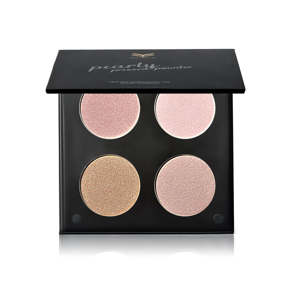 Tanali Contour Highlighter Powder Palette -4 Color Matte Glitter Foundation Face Makeup Compact Set (#2)