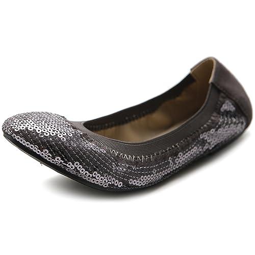Ollio Women Shoes Ballet Multi Color Spangle Comfort Flat ZM1057(11 B(M) US, Grey) best ballet flats