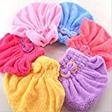 Yeefant 3 Pack Dry Hair Cap Super Absorbent Textile Microfiber Shower Hat for Bath Spa (Random Color)