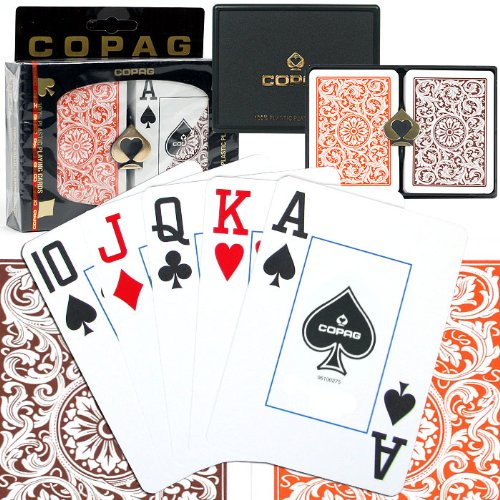 Copag Poker Size Jumbo Index – 1546 Orange and Brown Setup Playing Cards (Multi)