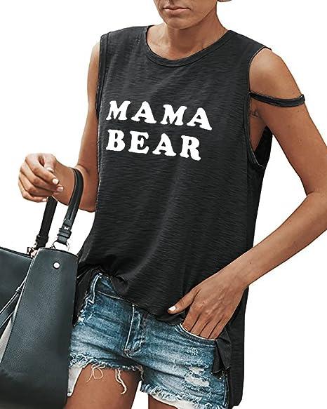 Amazon.com: huiyuzhi para mujer Graphic Mama Bear camisetas ...