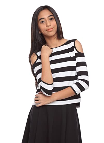 d507a95781eff GENZEE Girl s Poly Cotton Striped Cold Shoulder Crop Top (Black and White
