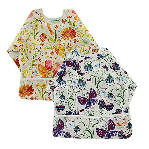 OHBABYKA Toddler Baby Waterproof Sleeved Bib, 6-24 Months (Autumn wildflowers & Purple butterfly)