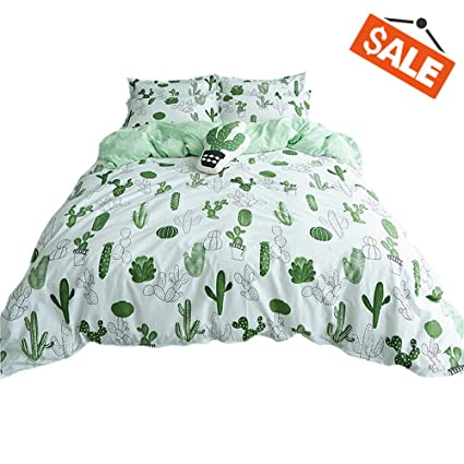 Amazoncom Vclife Cotton Duvet Cover Sets Queen Green White Bedding