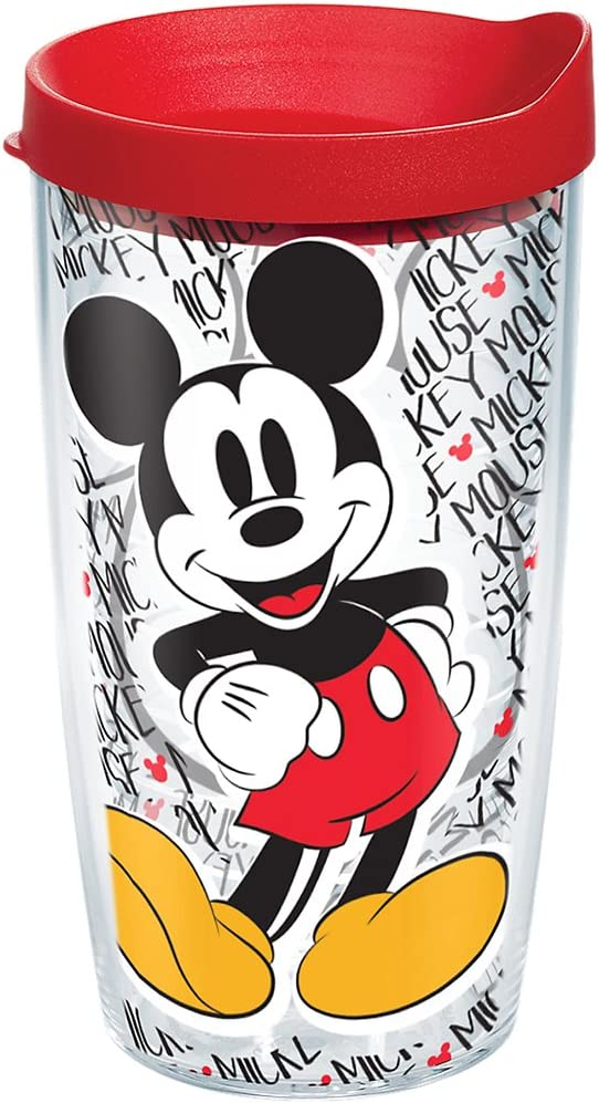 Tervis Disney - Mickey Mouse Name Pattern Tumbler with Wrap and Red Lid 16oz, Clear