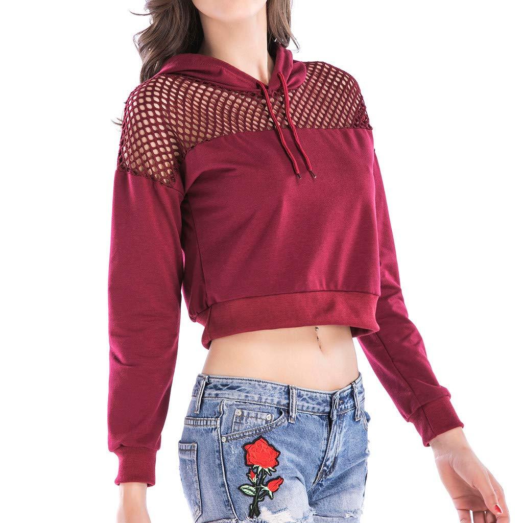 Startview Fashion Women Long Sleeve Hooded Mesh Hollow Out Casual Short Sweatshirt Top