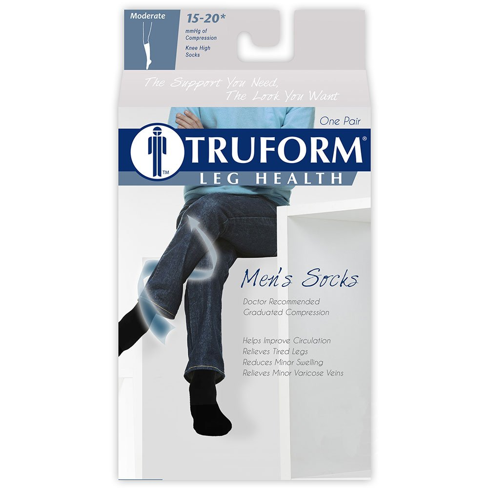 Amazon.com: Truform Mens 15-20 mmHg Knee High Cushioned Athletic Support Compression Socks, White, Large: Health & Personal Care