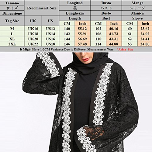 Islamic Apparel Robe Zhhlinyuan Muslims Lace Dress amp Trendy Loose Maxi white Full Dresses Dubai Length Black Cardigan Arab fpqxYRUq
