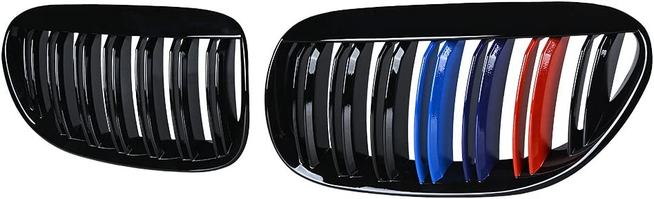 Astra DepotS Kidney Grill Grille Gloss Black M-Color Pair for BMW E63 E64 650i 645Ci M6 Coupe