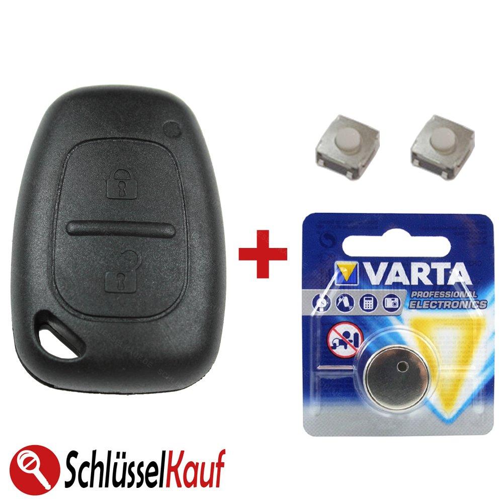 Kit de réparation – Avec boîtier de clé de rechange avec télécommande radio, micro boutons et pile – Pour Renault Master, Trafic et Opel Movano, Vivaro