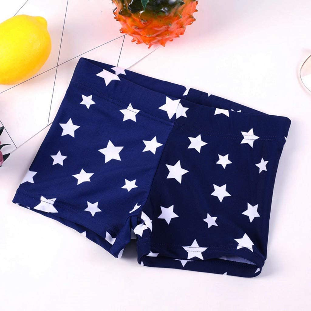 Danhjin Kid Boys Summer Striped Star Printed Stretch Beach Swimsuit Swim Flat-Corner Shorts for Children