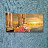 SCOCICI1588 microfiber towel India Women in a Temple Holy Heritage Earth Yellow Pink High Absorbency L39.4 x W9.8 INCH