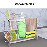 Orimade Kitchen Sink Caddy Organizer with Drain Pan Adhesive and Countertop Dual-Use Sponge Brush Soap Dish Holder SUS304 Stainless Steel
