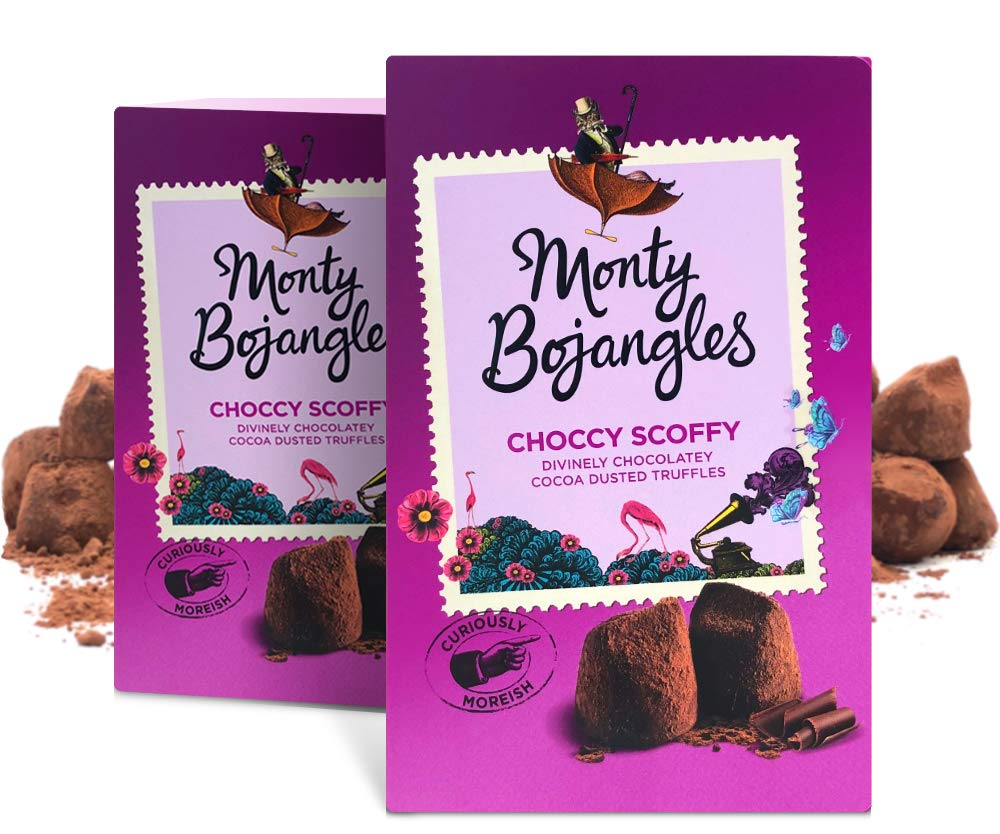 Monty Bojangles Choccy Scoffy Individually Wrapped Cocoa Dusted Truffles, 2 x 200g Gift Boxes