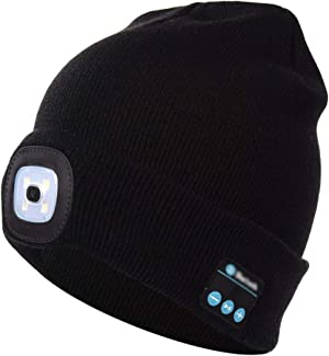 DPROMOT Wireless Bluetooth Beanie Hat with LED Headlamp, Unisex Musical Cap USB Rechargeable Headlight