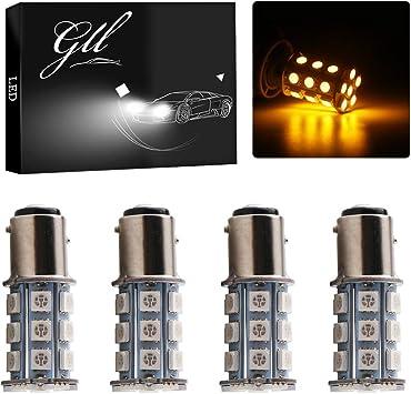 Grandview Amber BAY15D 1157 Base LED Bulbs 5050 24 SMD LED Replacement Bulb RV SUV MPV Car Turn Tail Signal Brake Light Lamp Backup Lamps Bulbs Car Exterior Lights Pack of 2