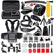FollowSun 52-In-1 Sports Action Camera Accessories Kit for GoPro Hero Session/5 Hero 1 2 3 3+ 4 5 SJ4000 SJ7000 DBPOWER AKASO VicTsing APEMAN WiMiUS Rollei QUMOX Lightdow Campark And Sony Sports DV