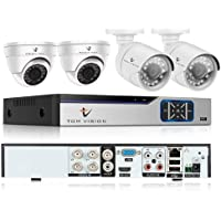 2Megapixels 4CH Home Security Camera System, Surveillance DVR kit with 2 Dome Camera/Indoor Camera & 2 Bullet Camera/Outdoor Camera (4CH No HDD)
