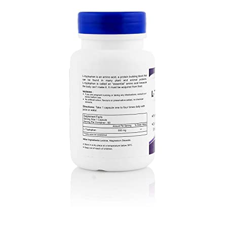 Amazon.com: healthvit L- tryptophane 500 mg 60 °Cápsulas ...