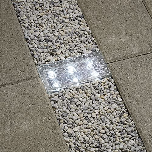 8×4 Solar Brick Landscape Light, 6 Cool White LEDs, Textured Glass Rectangle Paver, Waterproof, Outdoor Use, No Wires Easy to Install – Rechargeable Battery Included