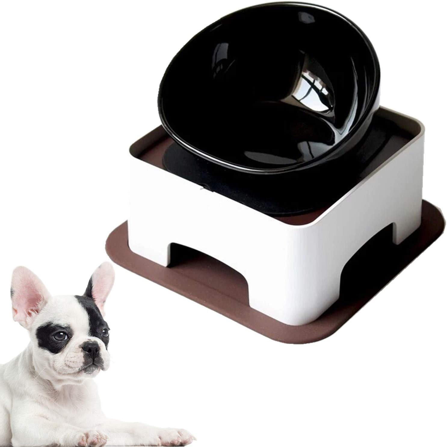 JYHY Bulldog Bowl Ceramic Dog Food Bowl - Dog Cat Dish Wide Mouth Dog Bowl Pet Sterile Tilted Pet Feeder with Anti-Skid Rubber Mat (Black Bowl Set)