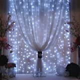 Valuetom 304 LED Curtain Lights Fairy String Twinkle Lighting for Party Wedding Home Garden Decoration 9.8Ft9.8Ft (White)