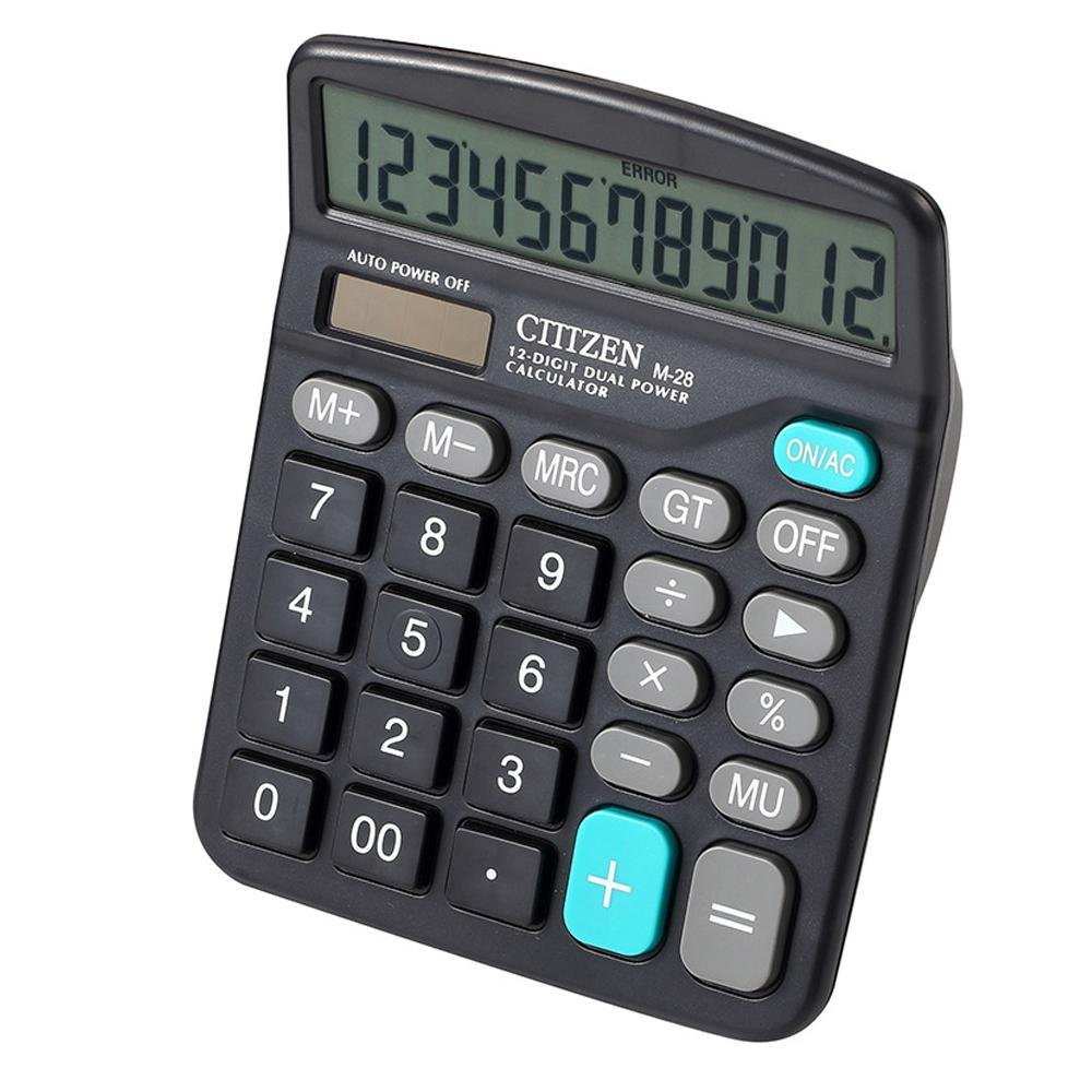 AOLVO 12 Digit Dual Power Calculators for Office//Business//Family Desk Calculator with Large Display and Large Buttons,AAA Battery