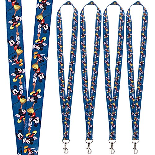Disney (4 Pack) Character Lanyard Keychains With Lobster Clasps For Kids ID Christmas Holiday Gift