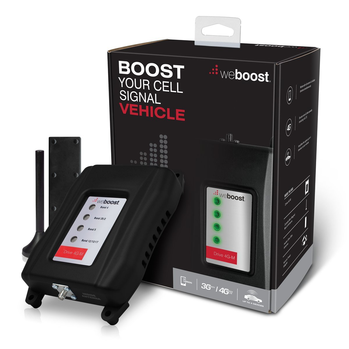 weBoost Drive 4G-M 470108 Vehicle Cell Phone Signal Booster, Cell Booster for Car & Truck, Enhances 4G LTE Cell Signals, Works With All U.S. Wireless Carriers Verizon, AT&T, Sprint, T-Mobile & More