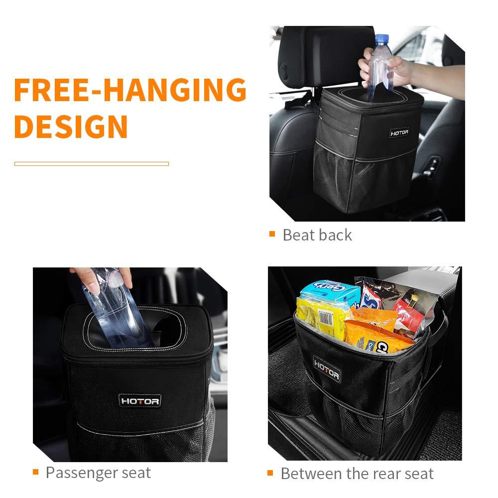 Black Waterproof Car Garbage Can HOTOR Car Trash Can with Lid and Storage Pockets Multipurpose Trash Bin for Car 100/% Leak-Proof Car Organizer