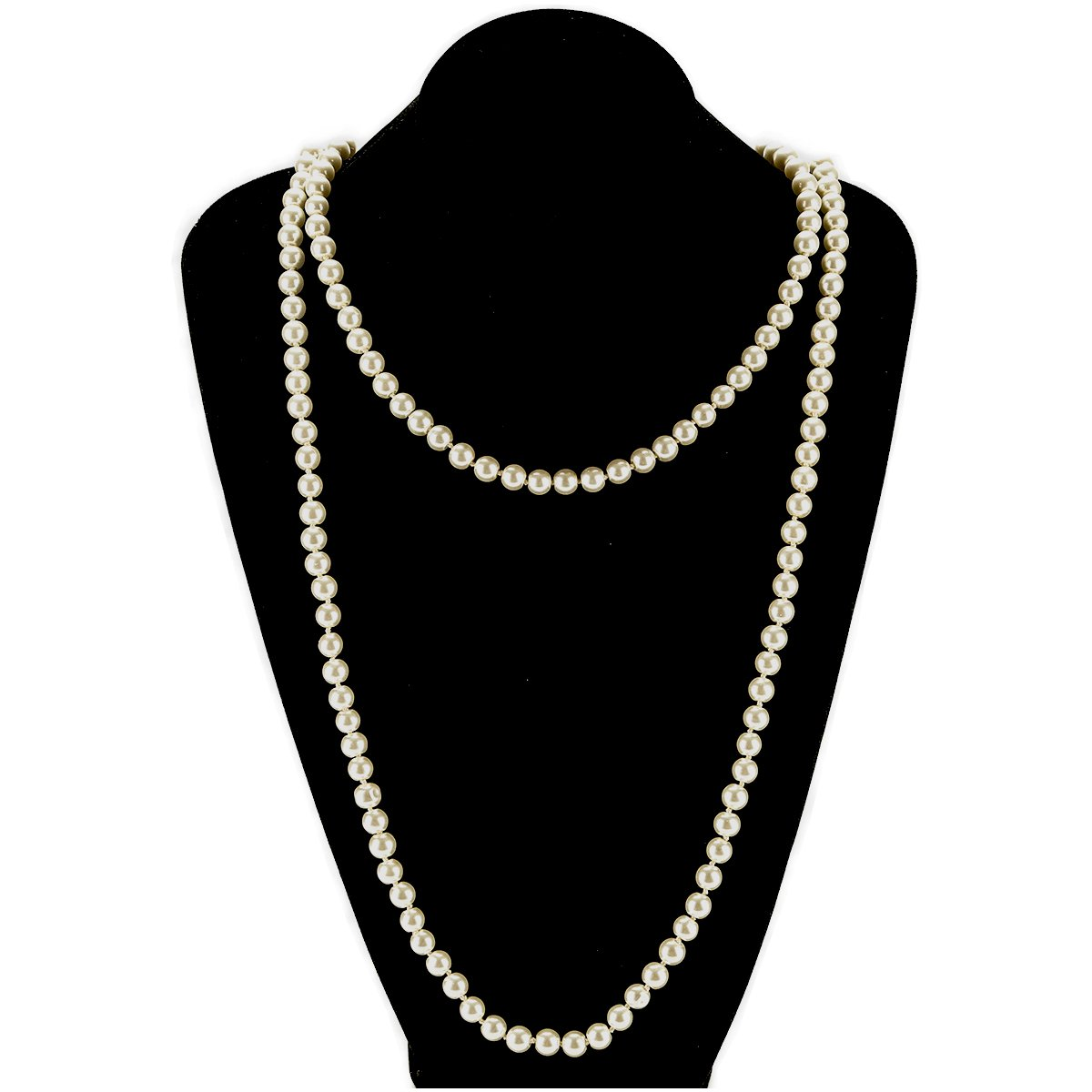 Utop Simulated Pearl Strand Necklace for Women 8mm Pearl Bead Manual Collar Necklace Black Long 55 LeeLoo
