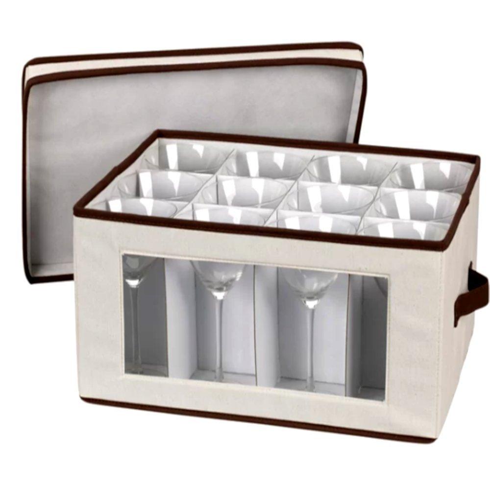 Stemware Storage Chest for Up to 12 Glasses White, Simple Polyester Stemware Chest Box & E-Book