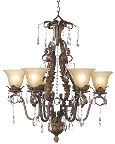 Iron Leaf Wide Roman Bronze And Crystal Chandelier Crystal - Chandelier leaves crystals