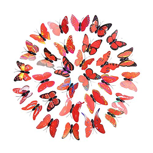 Vine_MINMI DIY Wall Sticker Decoration 3D Decal Walls Stickers Home Decor Rainbow Butterfly Room Decorations ()