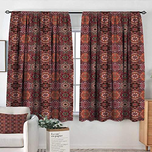 (Elliot Dorothy Blackout Curtains 2 Panels Moroccan,Vintage Tile Design with Oval Motifs Ottoman Mandala Figures Ornamental,Green Vermilion Ruby,Rod Pocket Curtain Panels for Bedroom & Kitchen 42