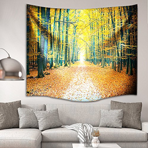 IMEI Golden Forest Tapestry Wall Hanging by, Nature Yellow Autumn Time Fabric Wall Decor Kids Girls Bed Throw Sofa Cover Living Room Dorm (Golden Woods with Leaves, 80 X 60 Inch) by IMEI (Image #2)