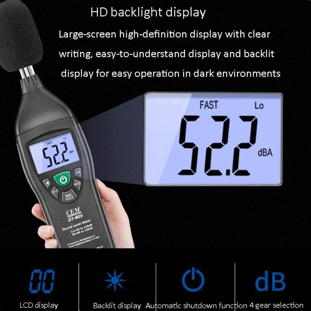 BingWS Decibel Meter Backlit LCD HD Display Noise Decibel Meter Tester Sound Level Meter with A 9V Battery Sound Measurement