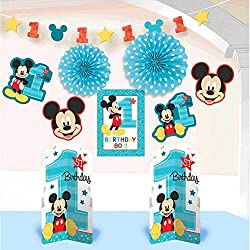 Amscan Mickey Mouse 1st Birthday Room Decorating Kit 10 Count Party Supplies Mickey Fun to be One, Multi-Colored, One Size